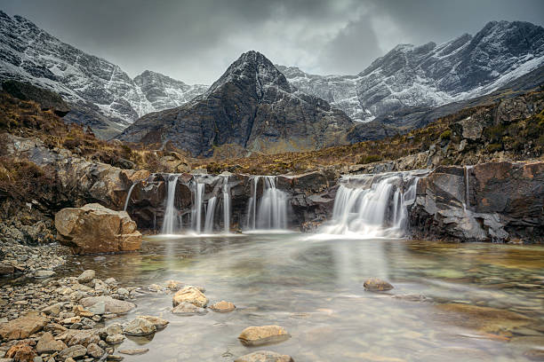 Fairy Pools! Fairy Pools on the Isle Of Skye. A cold Early Spring. isle of skye stock pictures, royalty-free photos & images