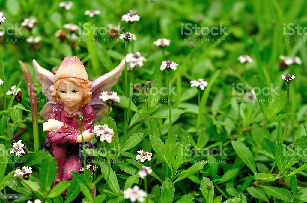 Fairy sitting in a field of small white flowers stock photo