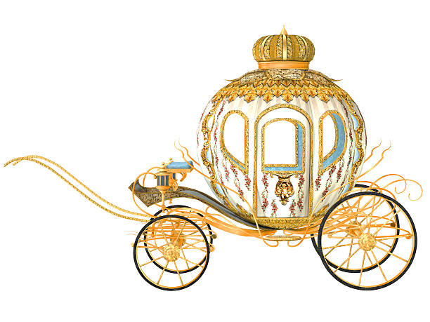 fairy tale carriage, isolated on the white background - 載客馬車 個照片及圖片檔