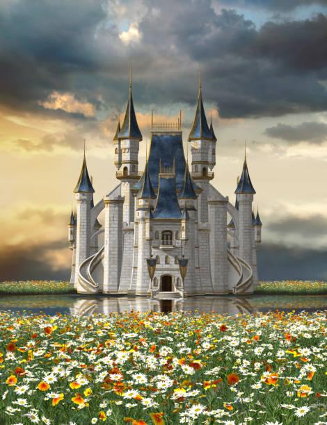 castelo de conto de fadas sobre um lago em um mar de flores - castelo - fotografias e filmes do acervo