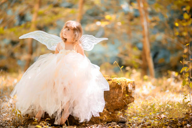 Fairy tale consept. Little toddler girl wearing beautiful princess dress with fairy wings stock photo