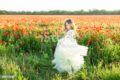 487217358 istock photo fairy tale, freedom, dancing, celebration, wedding, childhood, happiness concept - charming pug-nosed fairy in light blue dress with flying skirt spinning in the field of wild flowers 689323082