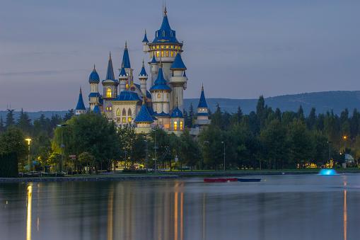 Eskisehir, Turkey - September 28, 2015: Fairy Tale Castle in the morning. Fairy Tale Castle in Sazova Park. It was built for kids in 2012.