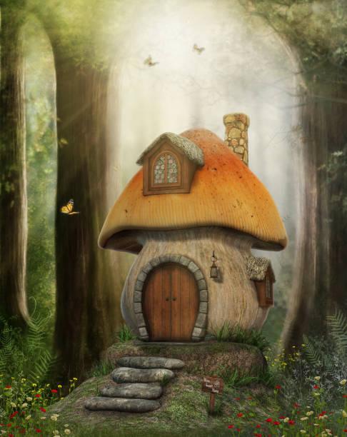 märchen-pilzhaus - märchenillustrationen stock-fotos und bilder