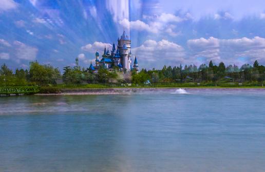 Eskisehir, Turkey - June 05, 2016: Fairy Tale Castle near the pool. Fairy Tale Castle in Sazova Park. It was built for kids in 2012.