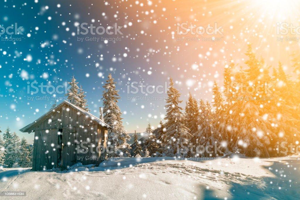 Fairy tale winter sunny landscape. Weathered wooden shepherd hut on...
