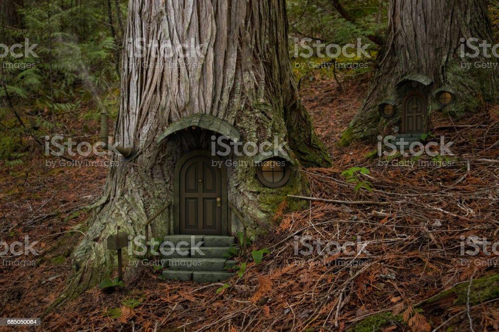 Fairy tree house stock photo