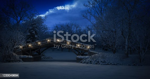 Digitally generated fairy winter night landscape in the park.  The scene was rendered with photorealistic shaders and lighting in Corona Renderer 5 for Autodesk® 3ds Max 2020 with some post-production added.