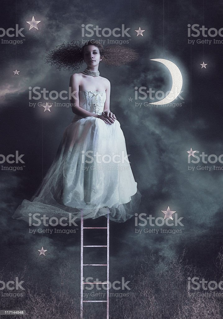 Fairy women at night sky royalty-free stock photo