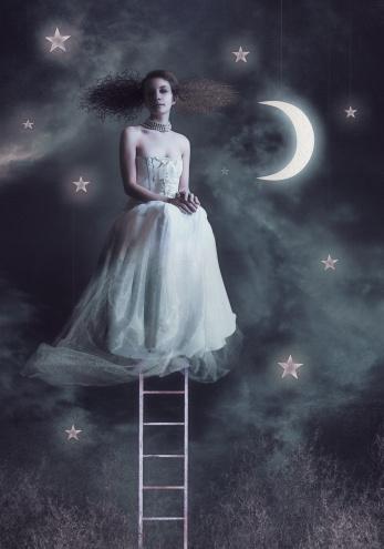 Fairy women at night sky