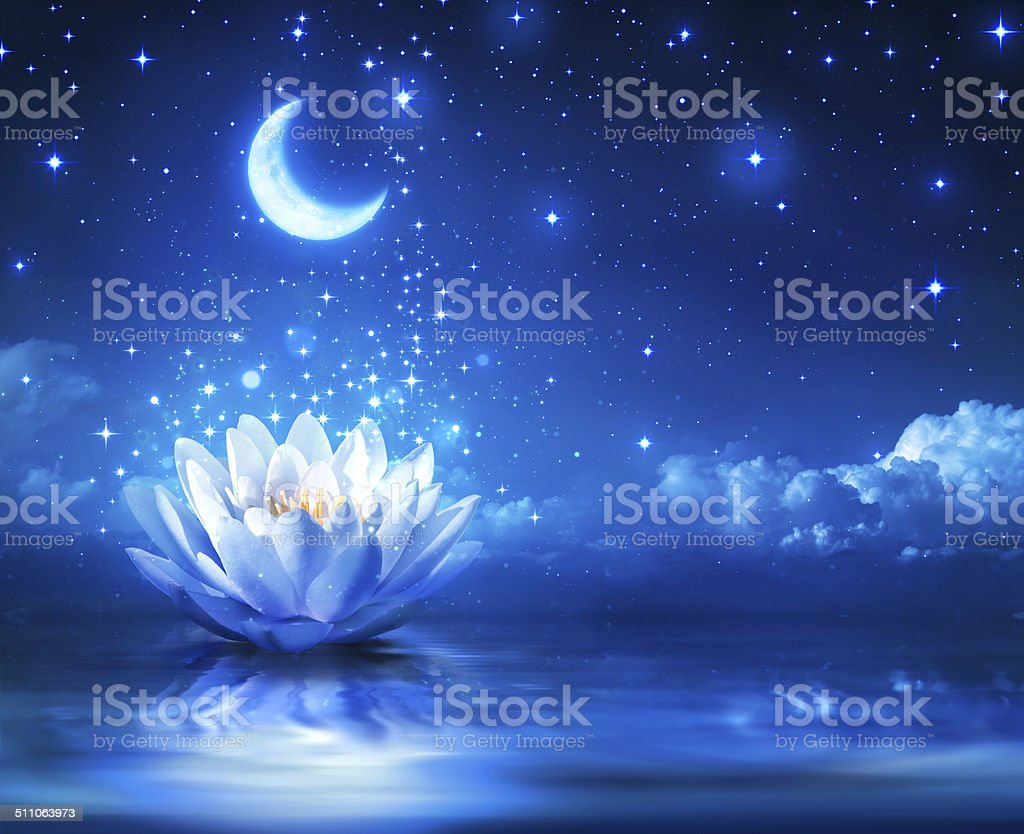 fairytale and magic blue background  - lily and moon stock photo