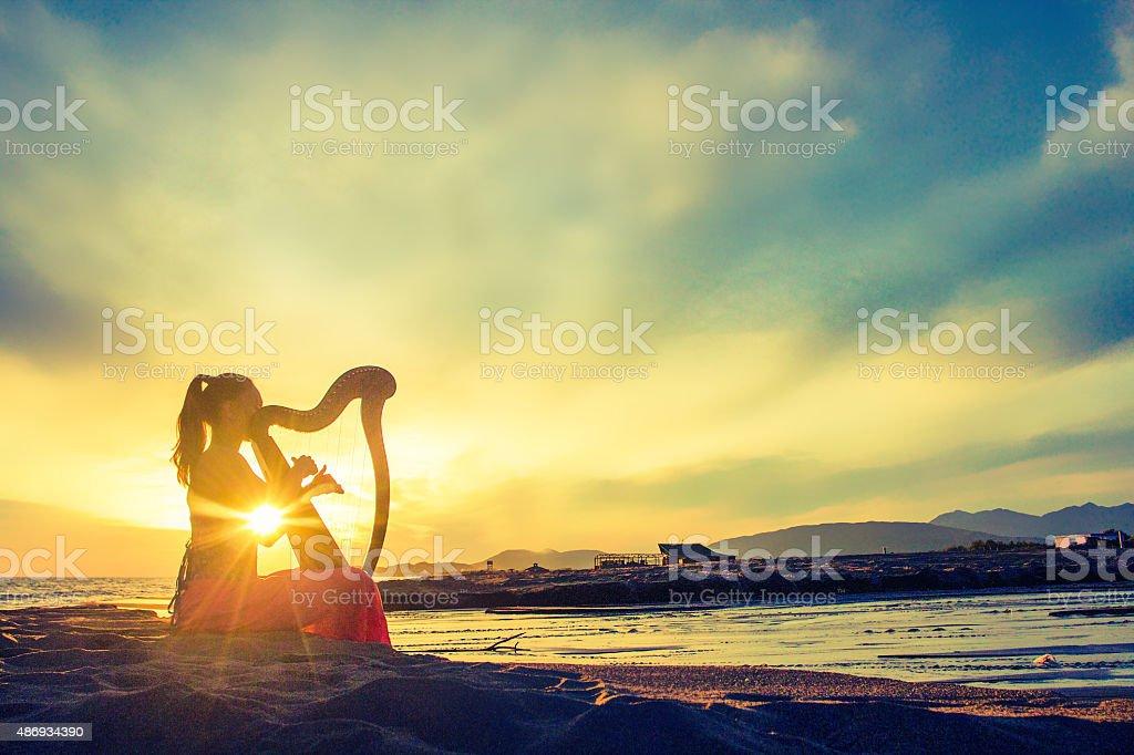 Favola harpist silhouette con celtic Arpa al tramonto - foto stock