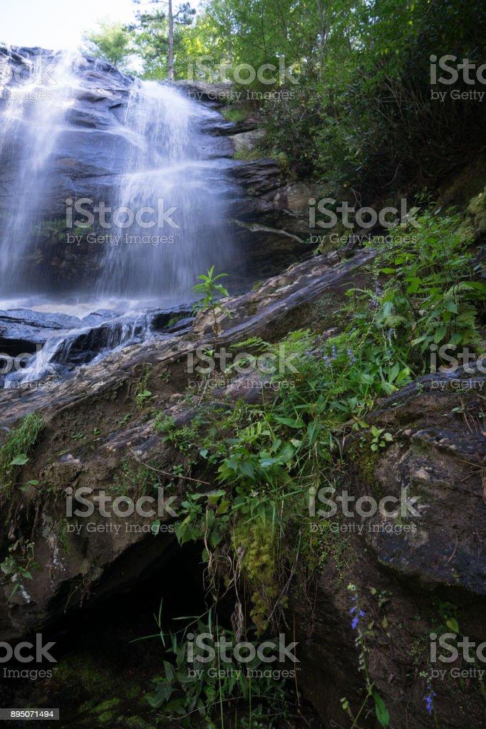 Fairy-tale mountain waterfall stock photo