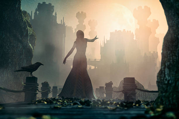 fairytale princess standing in front of old castle at night - cursed stock pictures, royalty-free photos & images