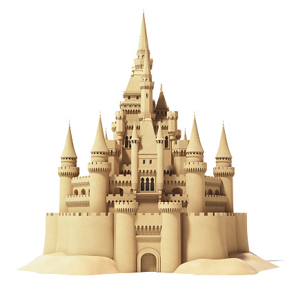 Fairytale sand castle isolated on white background. 3d illustration