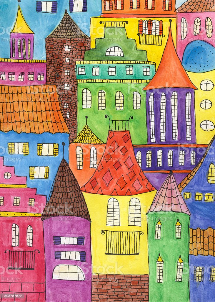 Fairytale town drawing stock photo