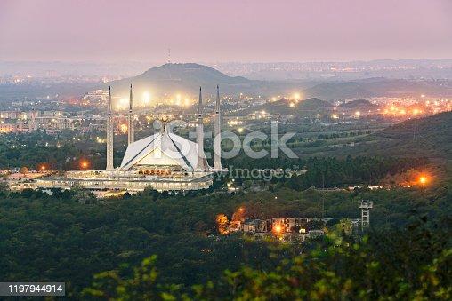 Faisal mosque dominates the landscape of Islamabad