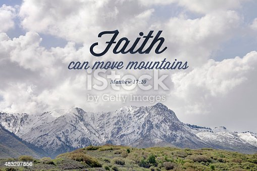 Matthew bible verse Typography over Mountain picture showing faith can move mountains