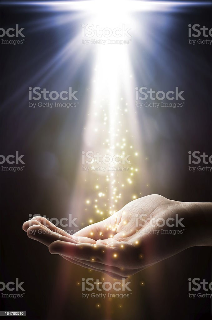 faith falls on your hand stock photo