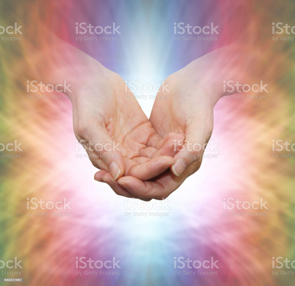 Faith Healer with Divine Light stock photo