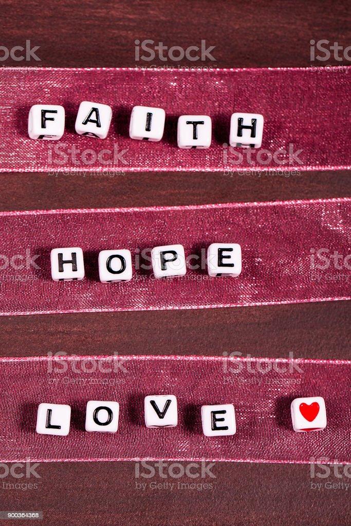 Faith Hope and Love Words stock photo
