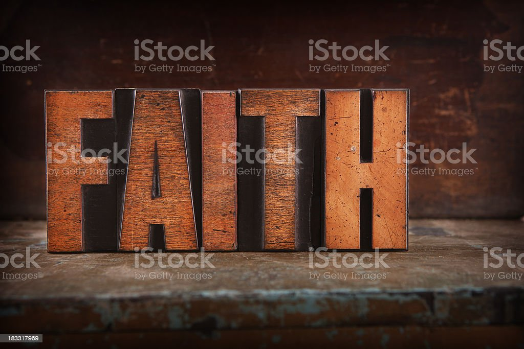 Faith - Letterpress letters royalty-free stock photo