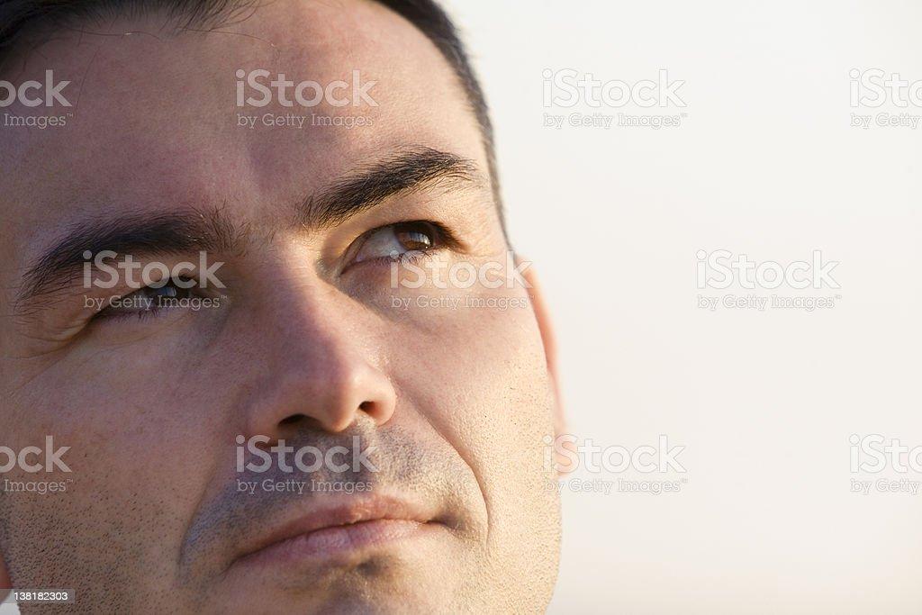 Faith Man thinking close up at dusk royalty-free stock photo