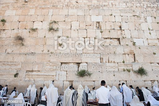 April 17, 2018 - Jerusalem, Israel: People, tourists and jews from all over the world pay their penitence and  pray in front of the Western Wall.