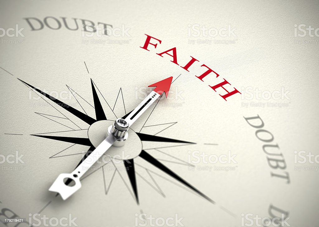 Faith versus doubt, religion or confidence concept royalty-free stock photo