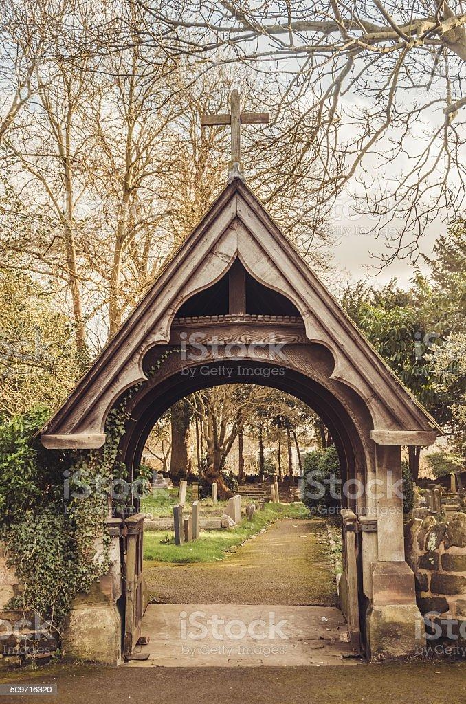 Faith welcome - Portico to churchyard stock photo