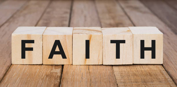 Faith Word on Wooden Blocks Religion and culture concept religion stock pictures, royalty-free photos & images