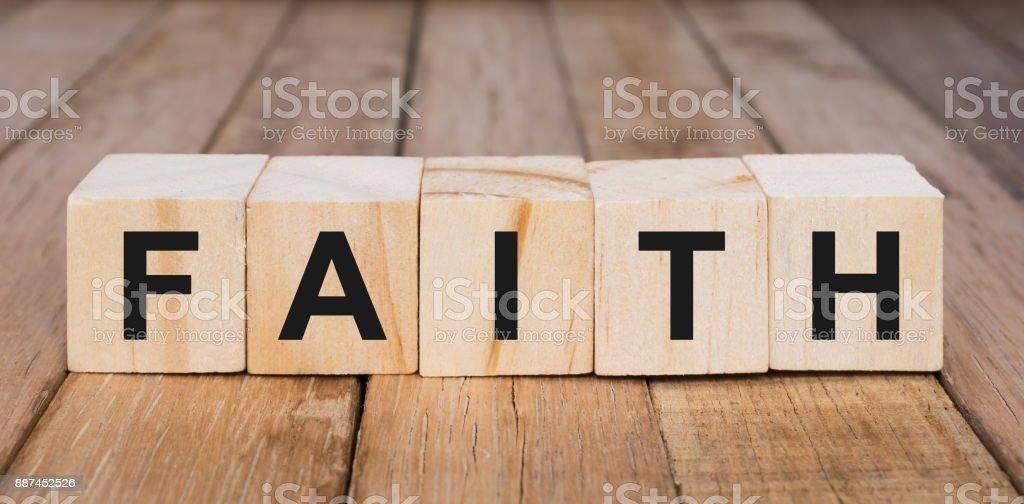Faith Word on Wooden Blocks stock photo