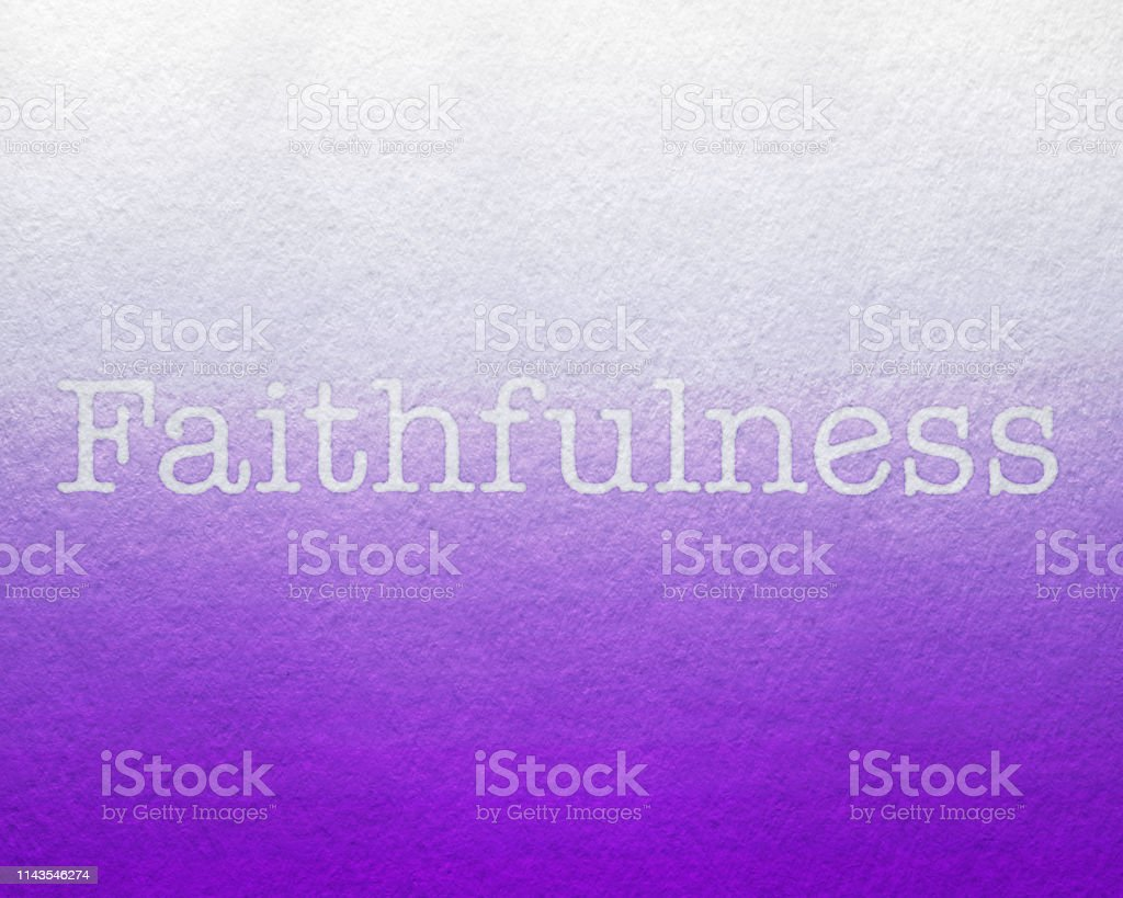 Faithfulness with Purple Background, watercolor painted Fruit of the Spirit stock photo