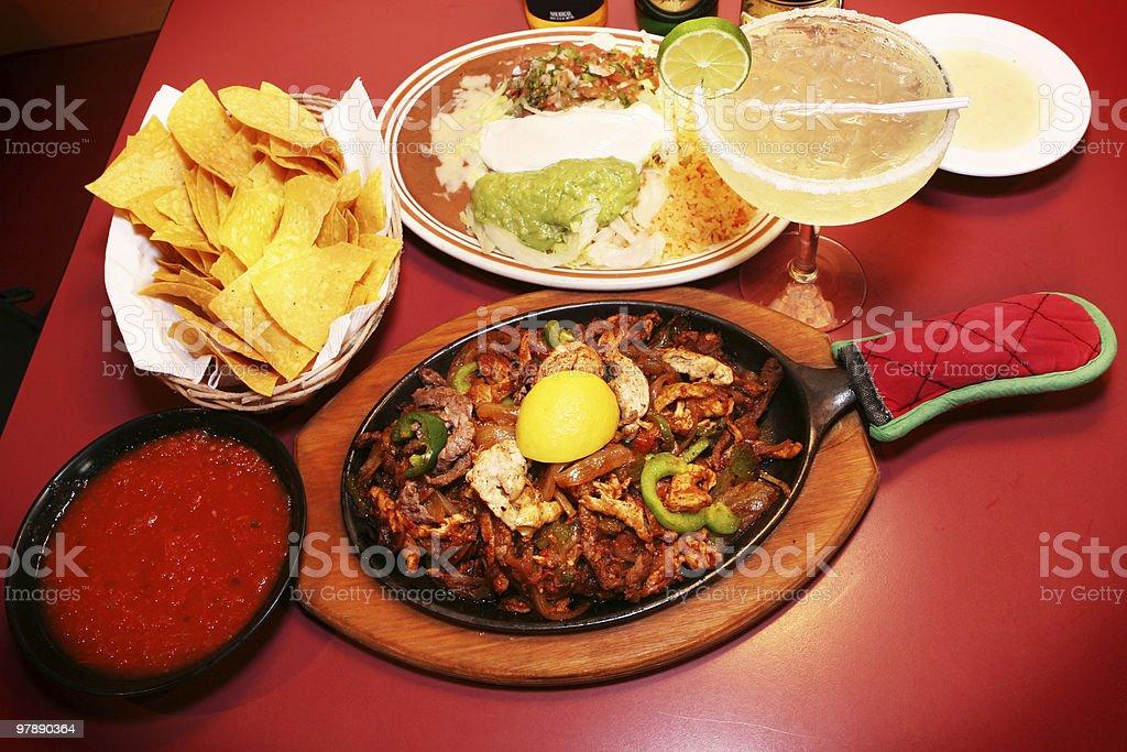 Fajitas and Margarita - Mexican Food royalty-free stock photo
