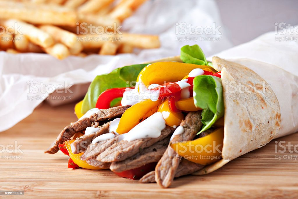 Fajitas with fries royalty-free stock photo