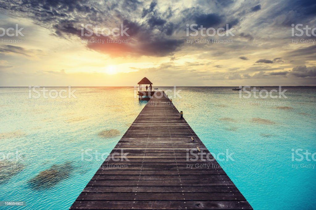 Fakarava Sunset at Jetty French Polynesia stock photo