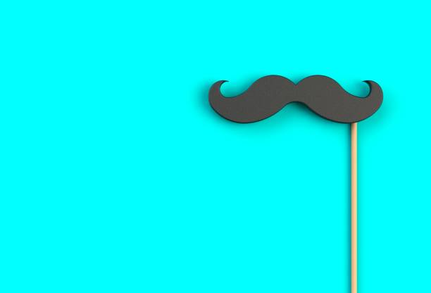 fake black mustache on blue background, 3d rendering - mustache stock pictures, royalty-free photos & images