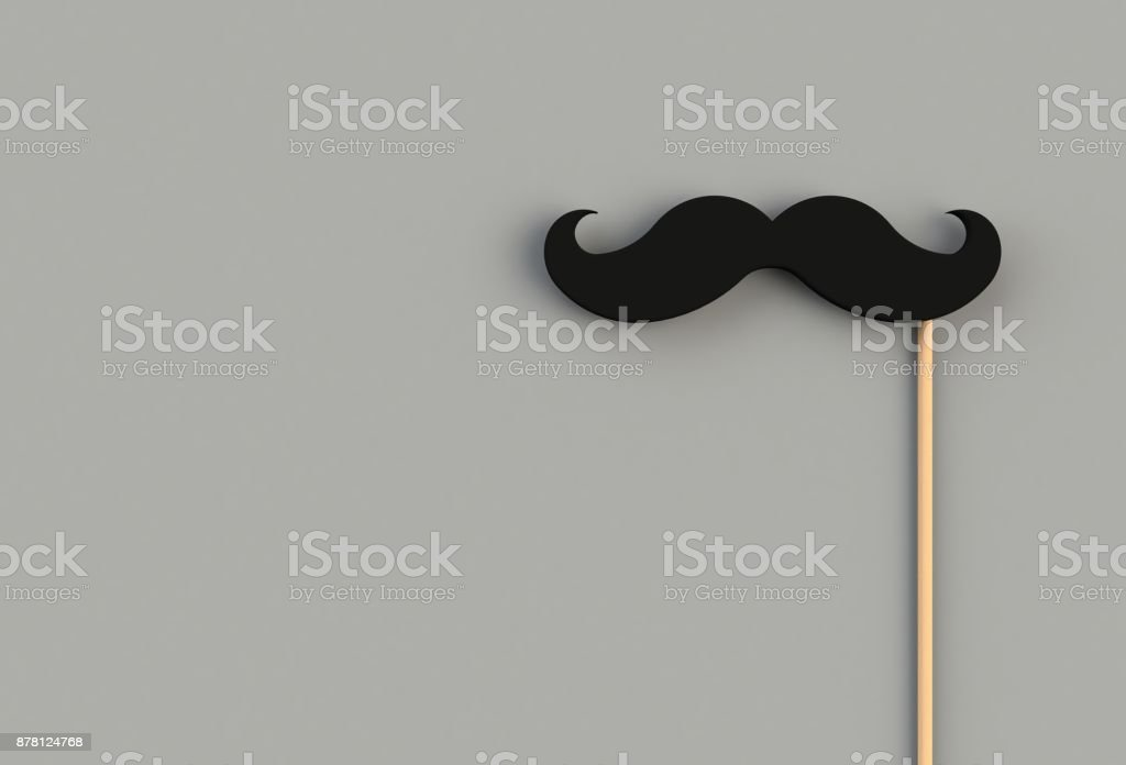 Fake black mustache on gray background, 3D rendering stock photo