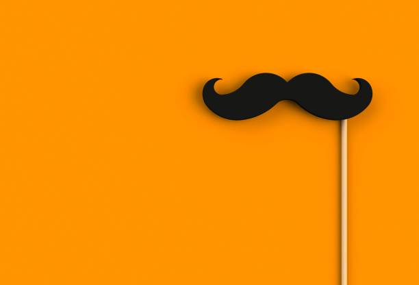 Fake black mustache on orange background, 3D rendering Fake black mustache on orange background, 3D rendering mustache stock pictures, royalty-free photos & images