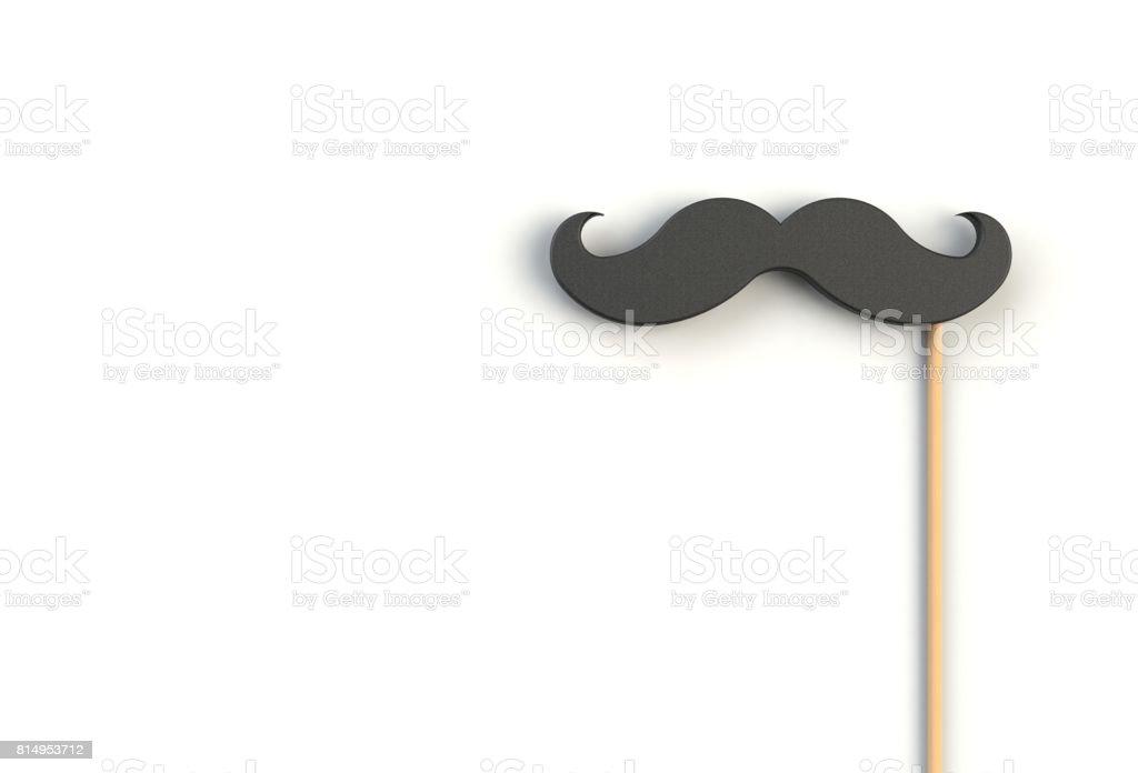 Fake black mustache on white background, 3D rendering stock photo
