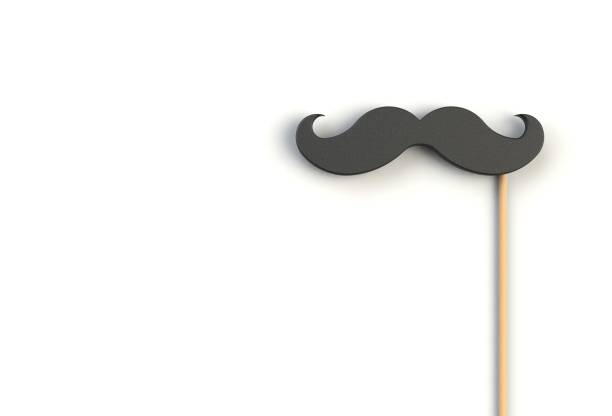 Fake black mustache on white background, 3D rendering Fake black mustache on white background, 3D rendering mustache stock pictures, royalty-free photos & images