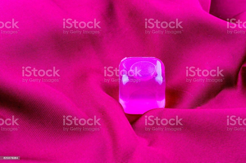 Fake colorful ice cubes on fabric zbiór zdjęć royalty-free