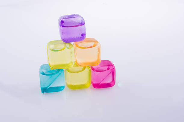 Fake colorful ice cubes stock photo