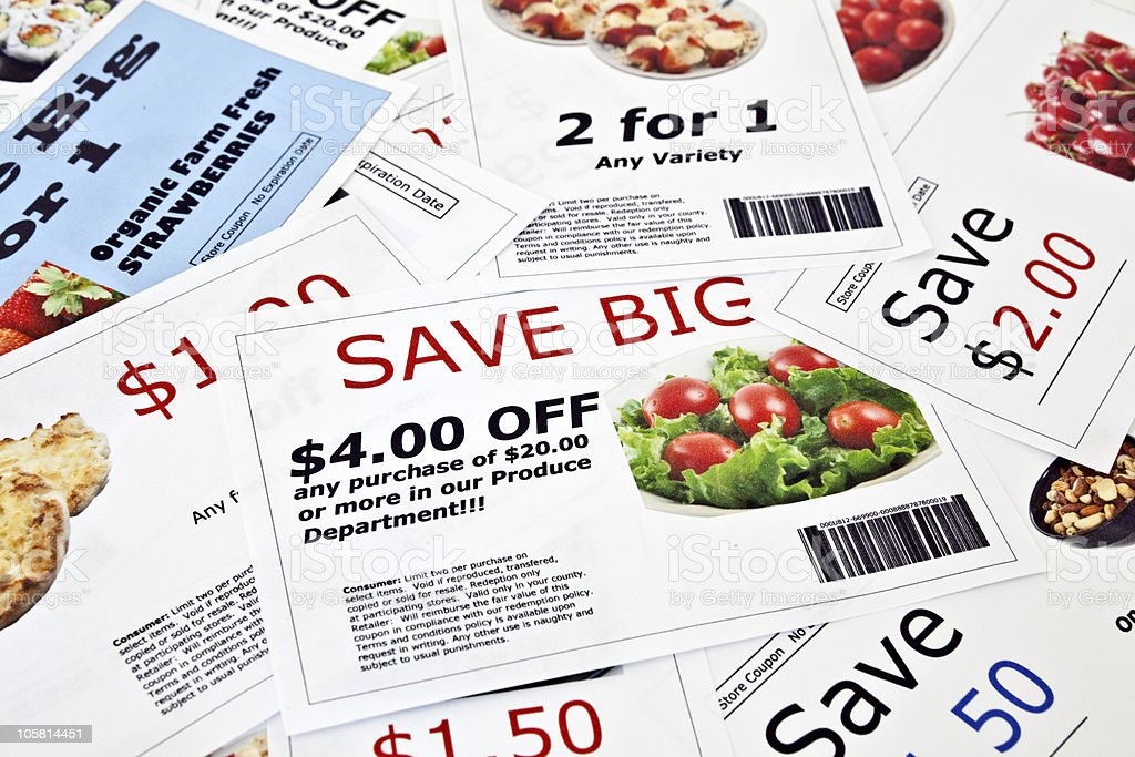 Fake Coupon Background Fake coupon background.  All coupons were created by the photographer.  Images in the coupons are the photographers work and are included in the release.  The bar codes are fake.  The text is fictional. Artificial Stock Photo