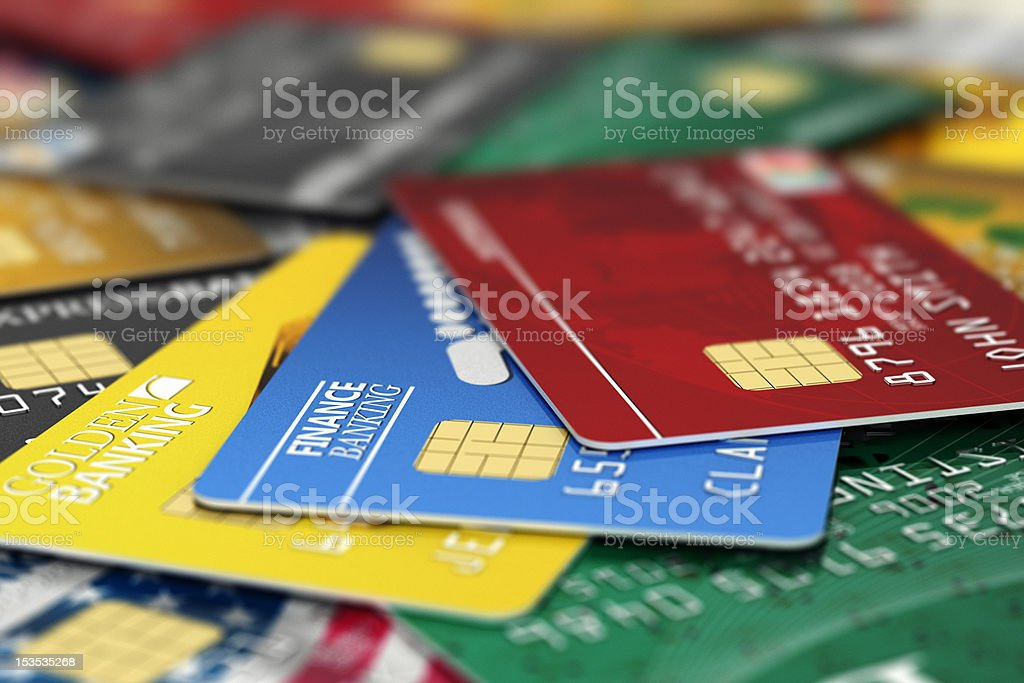Fake credit cards stock photo