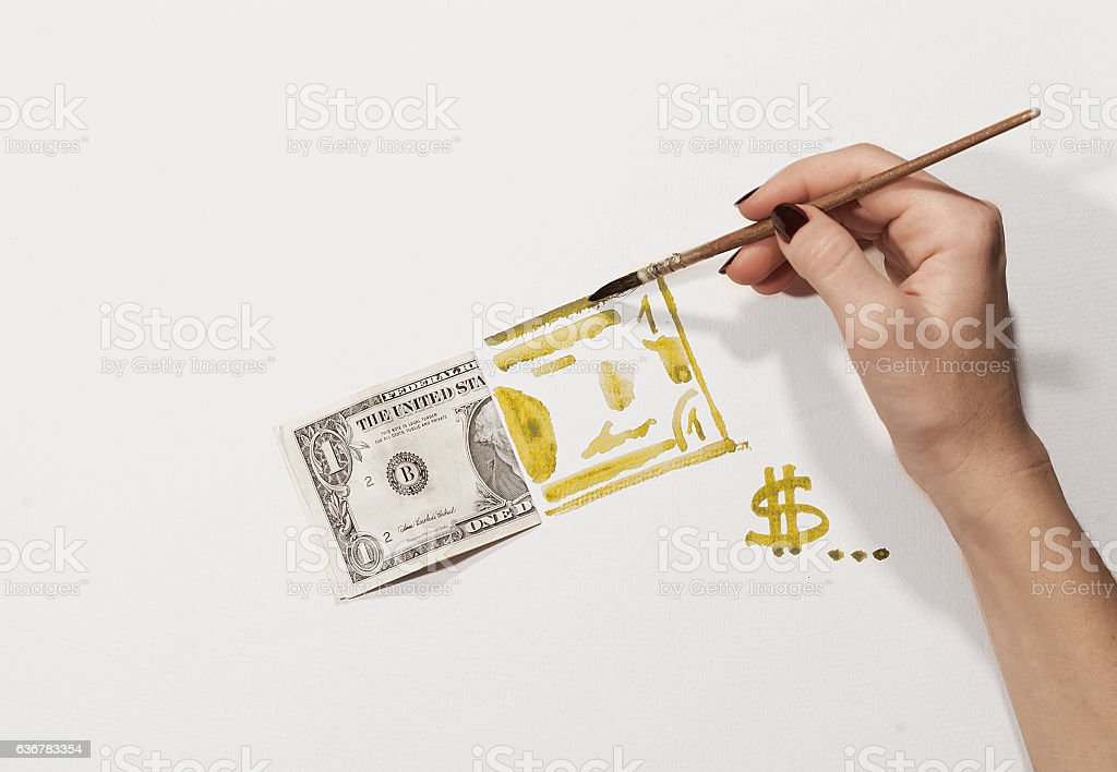 fake dollar, watercolor stock photo