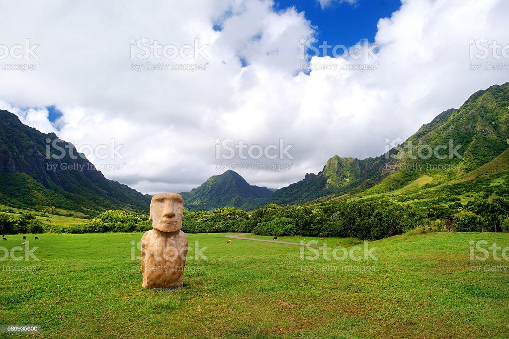 Fake Easter island head on Kualoa Ranch, Oahu stock photo