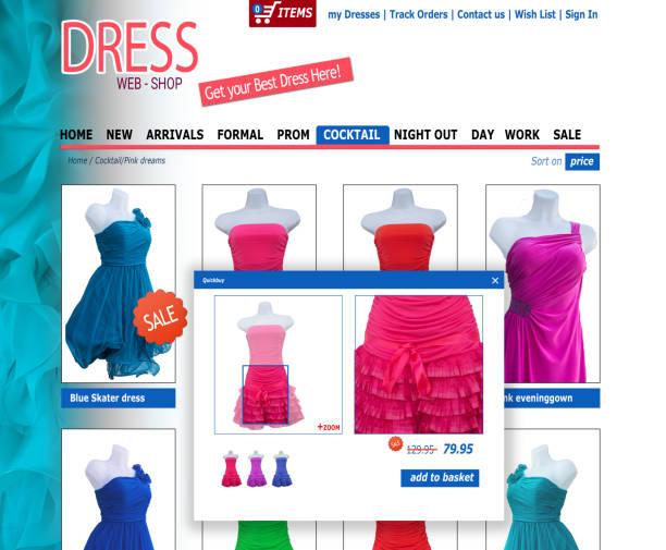 gefälschte fiktive kleidung webshop für computer und tablet-displays - dresses online shop stock-fotos und bilder