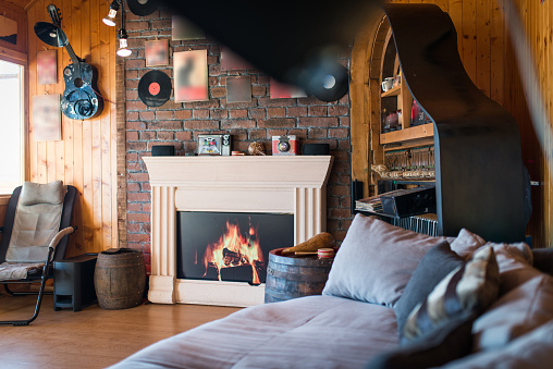 Fake Fireplace View From Sofa In Interior Stock Photo Download Image Now Istock