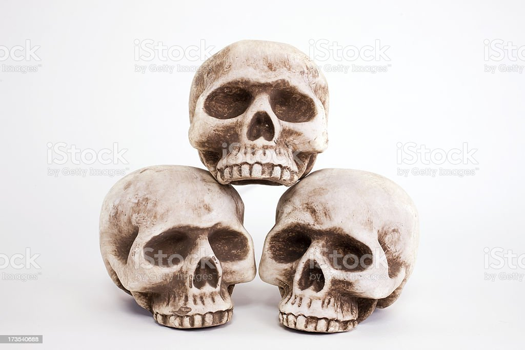3 Fake Halloween Skulls in Pyramid on White, Copy Space royalty-free stock photo